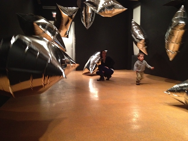 We chased helium balloons at the Andy Warhol museum