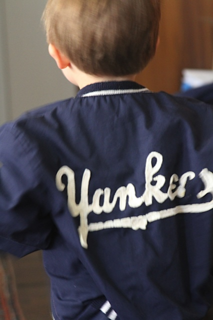 who else but n'Uncle Peter is going to lend you the very same Yankees jacket he wore when he was 5?