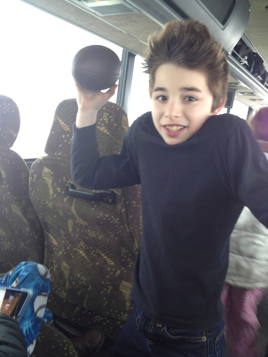 Cam on the bus.  Sometimes we wouldn't see G for hours at a time.  Michael would get jealous.